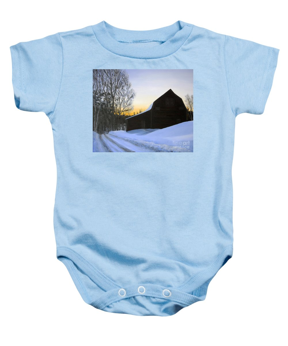 Sunrise Baby Onesie featuring the painting Morning Solitude by Mary Tuomi