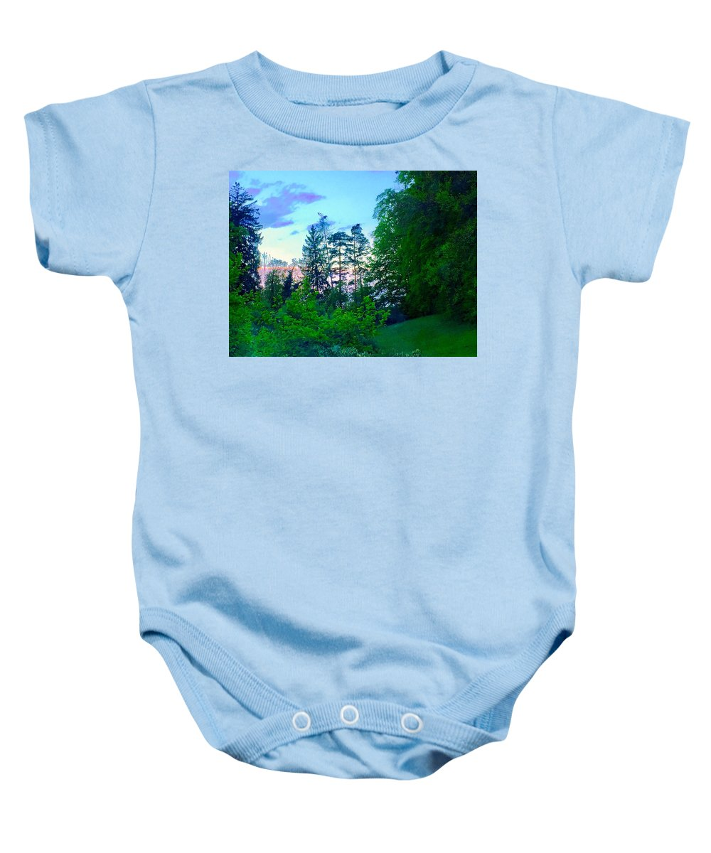 Green Cheerful Rainbow Clouds Blue Sky Baby Onesie featuring the photograph Morning Surprise by N Challenger