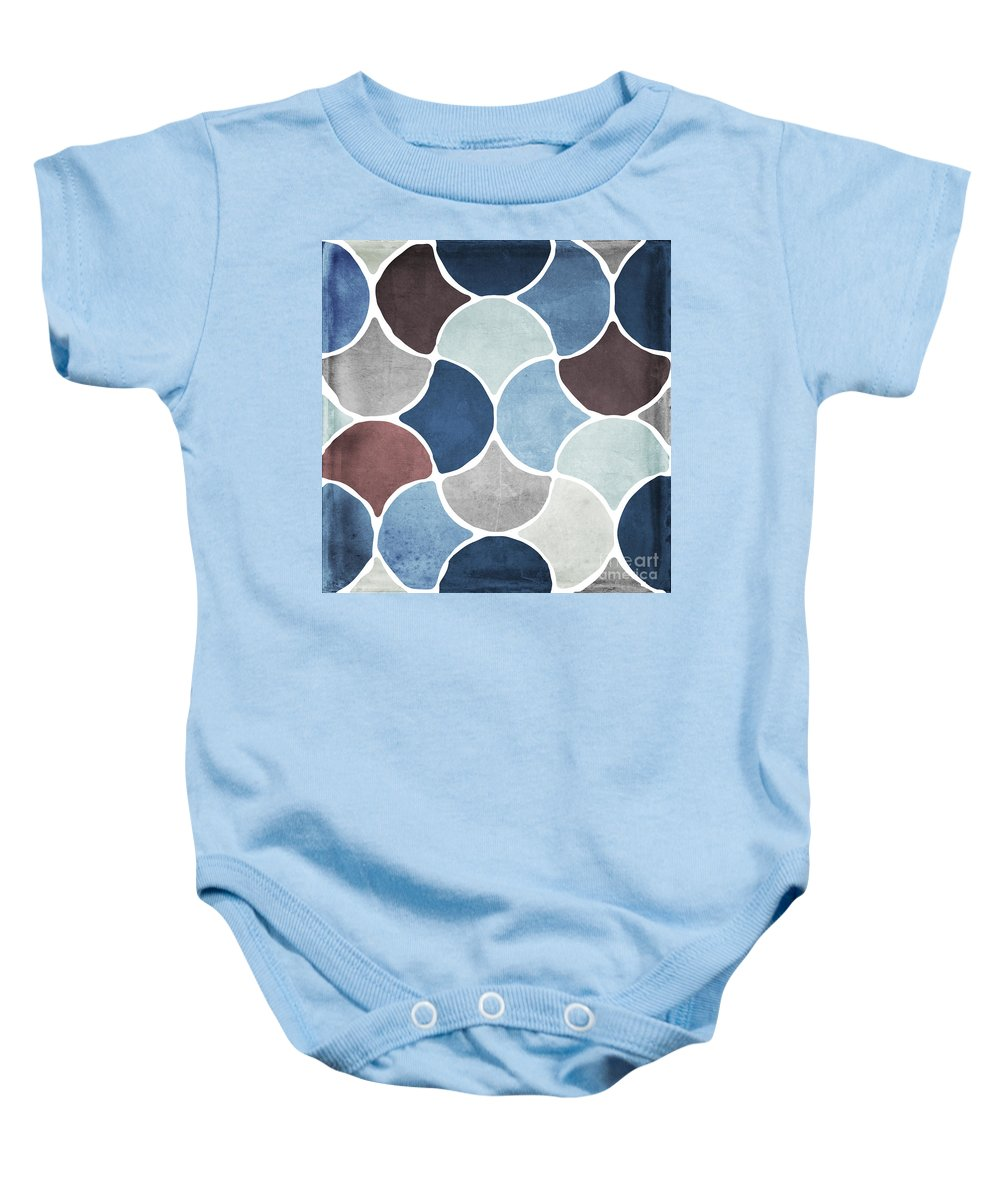 Pattern Baby Onesie featuring the painting Moroccan Blues by Mindy Sommers