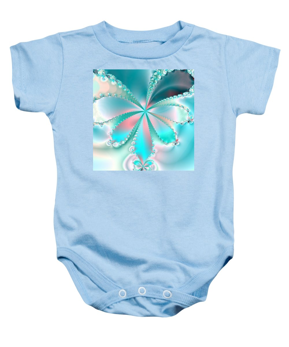 Love Flower Blue Teal Green Fantasy Abstract Digital Ocean Leaf Plant Photo Fractal Fine Art Black Baby Onesie featuring the photograph Mother Of Pearl Butterfly by Regina Rodella