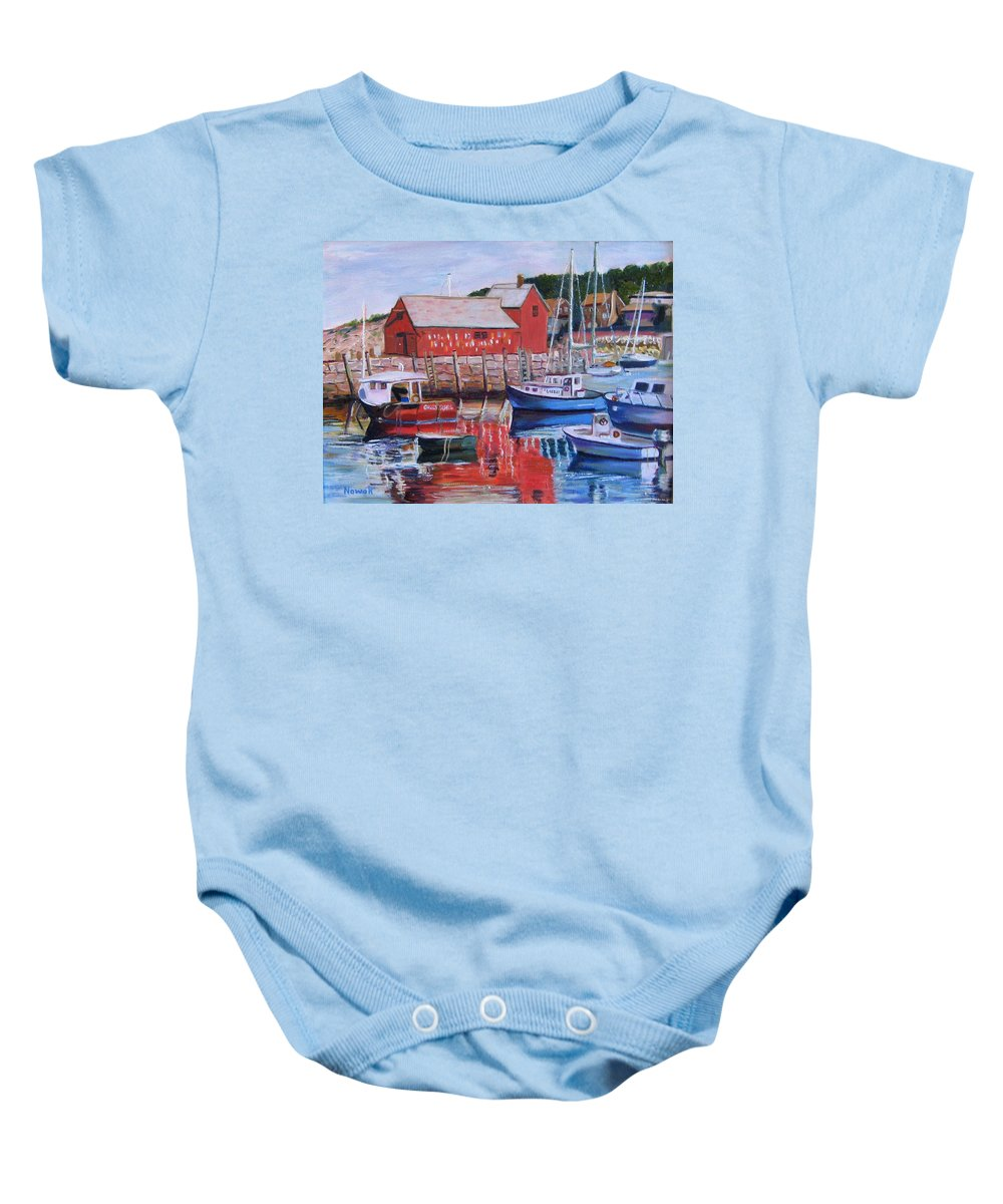 Rockport Baby Onesie featuring the painting Motif Number One by Richard Nowak