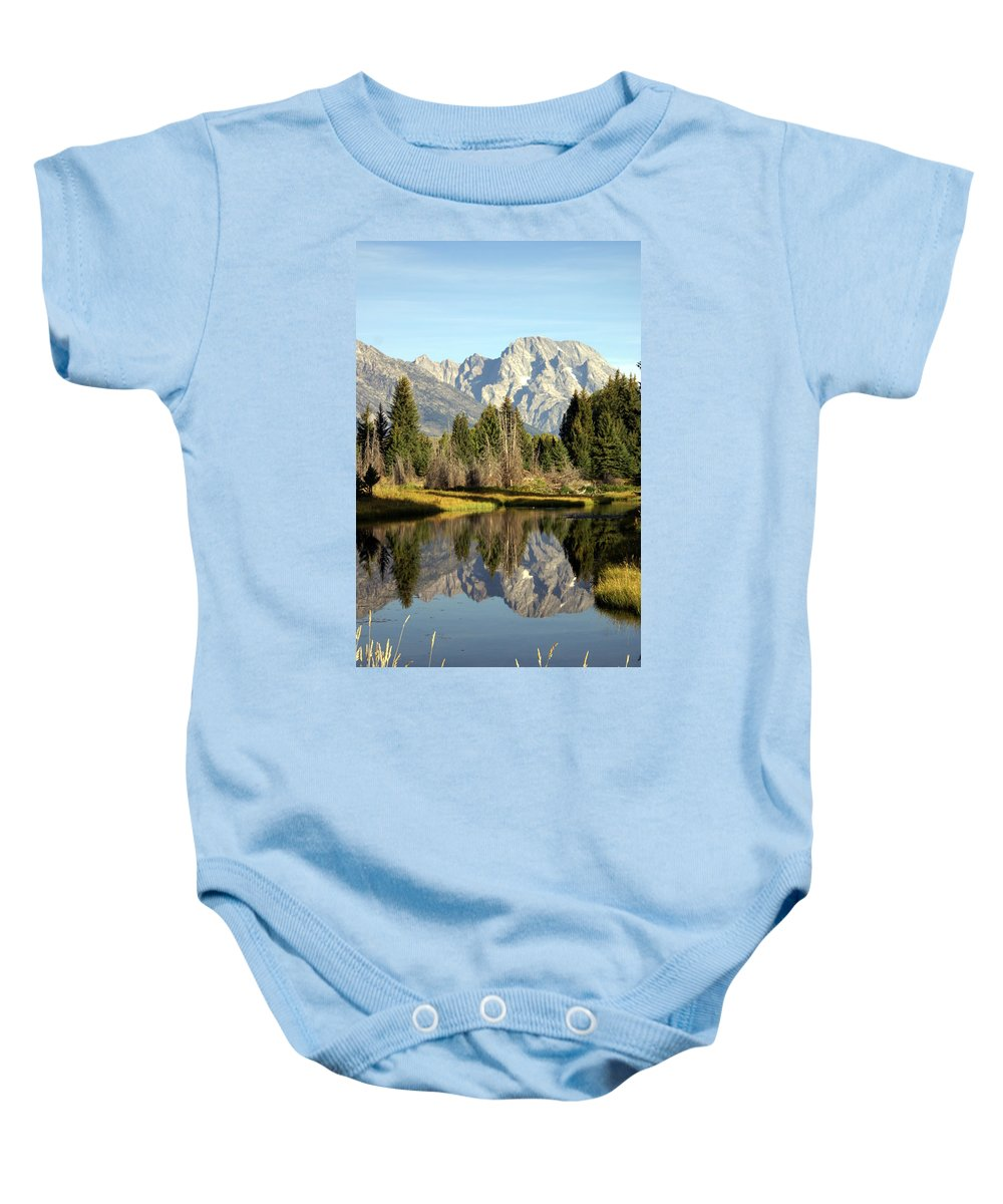 Grand Teton National Park Baby Onesie featuring the photograph Mount Moran Reflections by Marty Koch