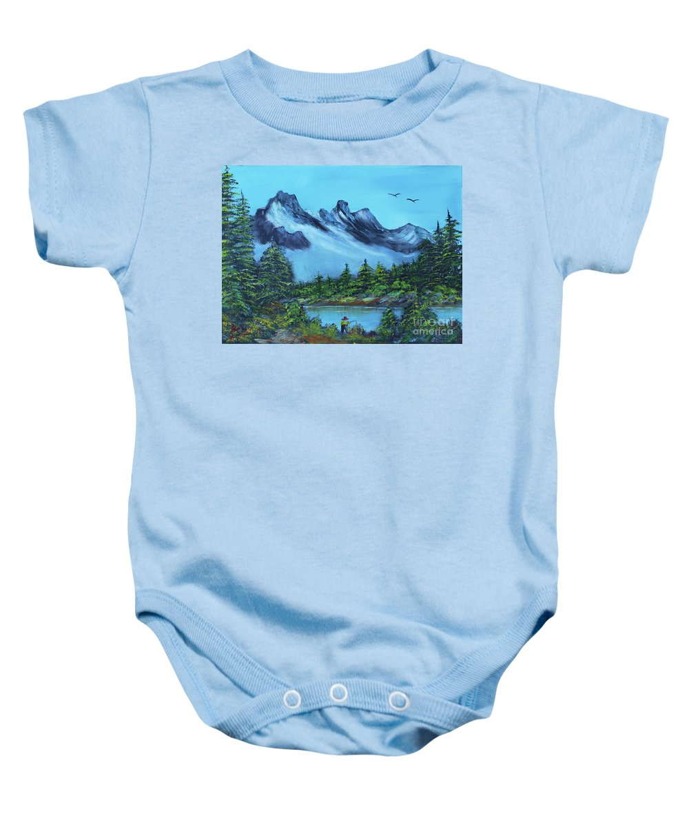 Mountains Baby Onesie featuring the painting Mountain Fishing Lake by Betty McGregor