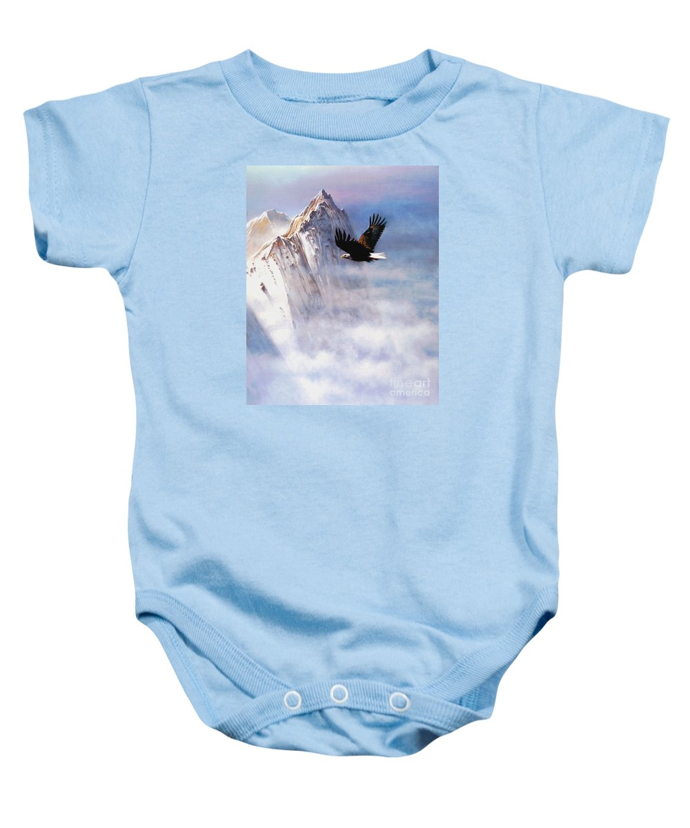 Eagle Baby Onesie featuring the painting Mountain Majesty by Robert Foster