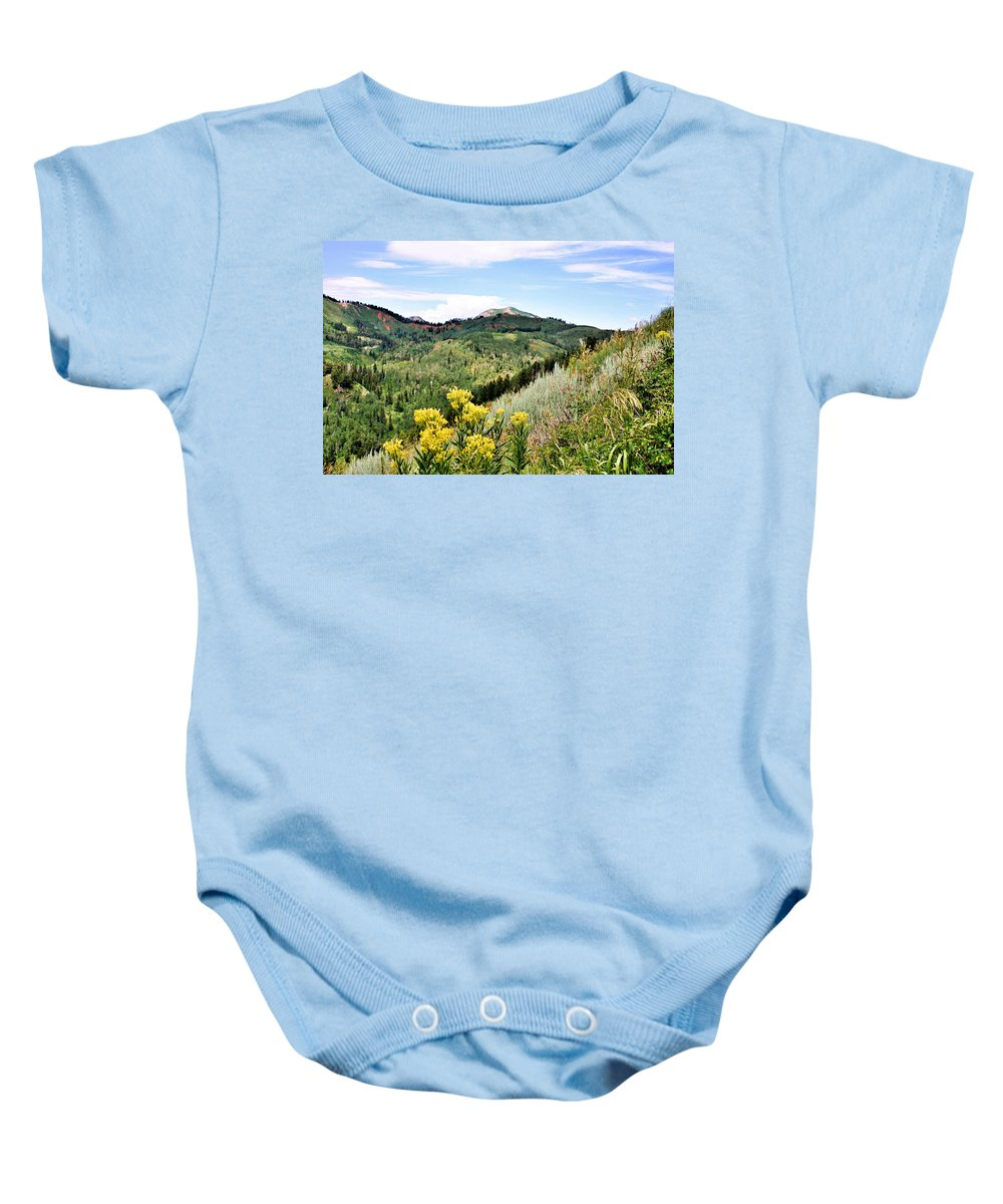 Mountain Baby Onesie featuring the photograph Mountain Meadows by Kristin Elmquist