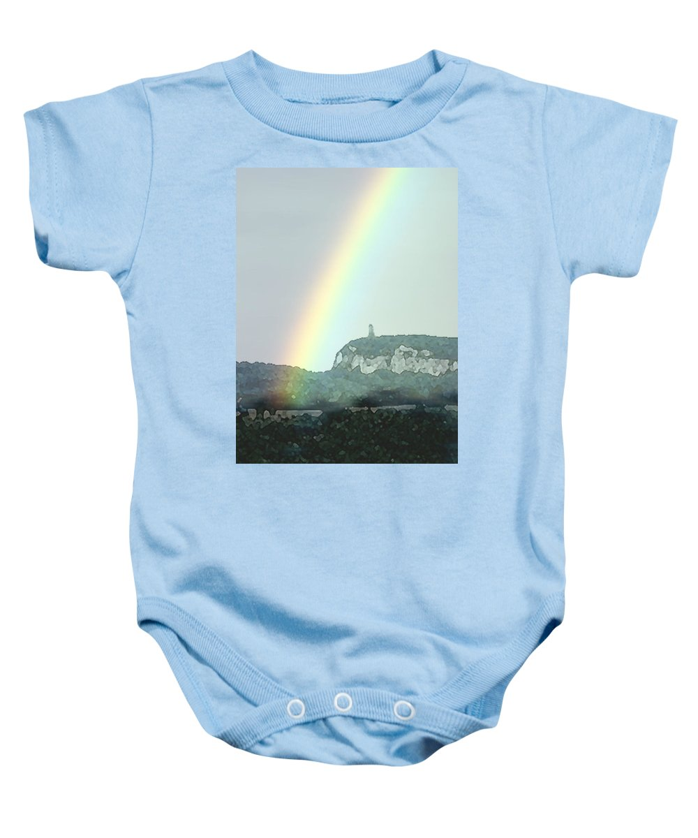 Landscape Baby Onesie featuring the painting Mountain Rainbow by Paul Sachtleben