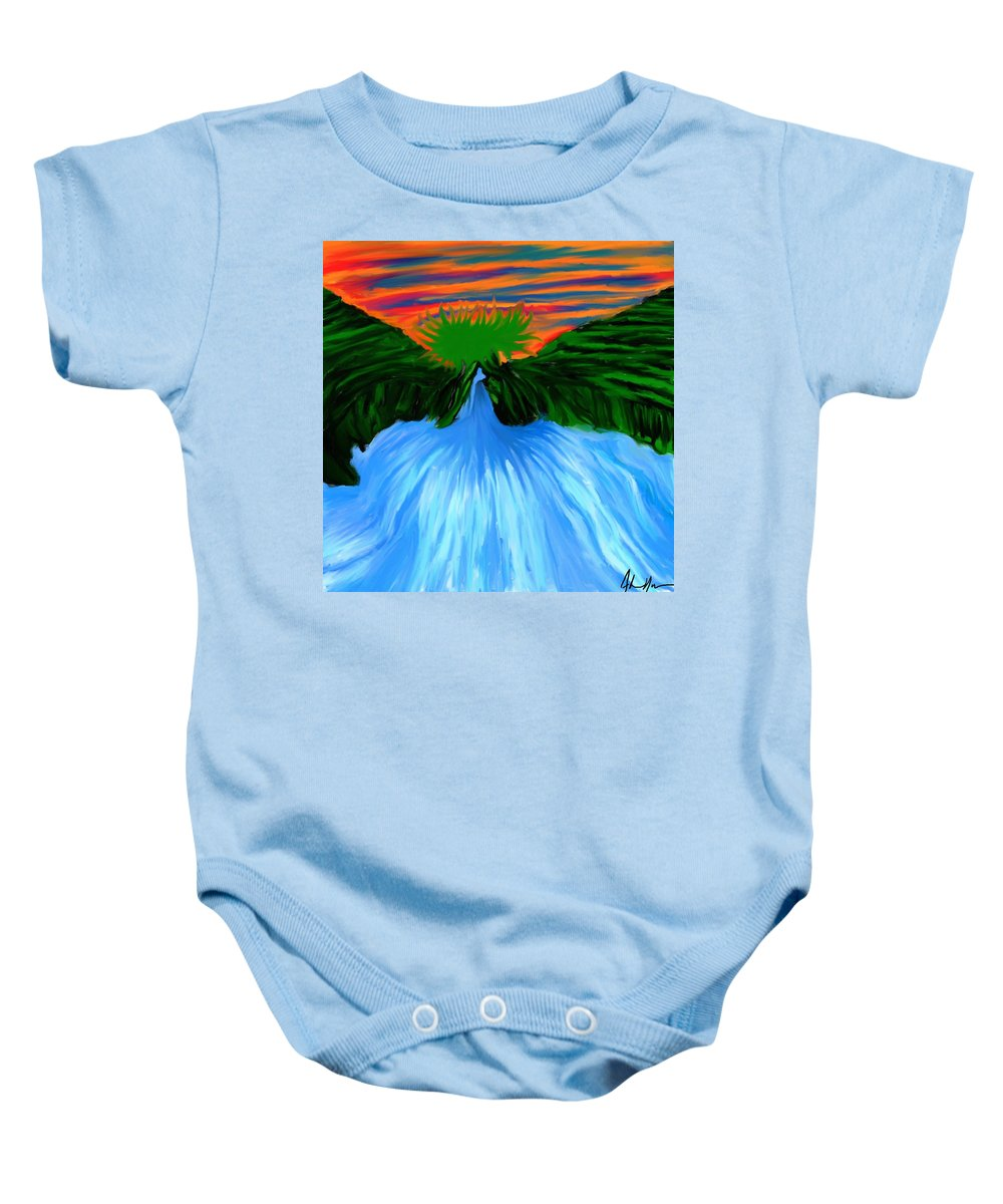 Mountain Baby Onesie featuring the painting Mountain Stream by Adam Norman