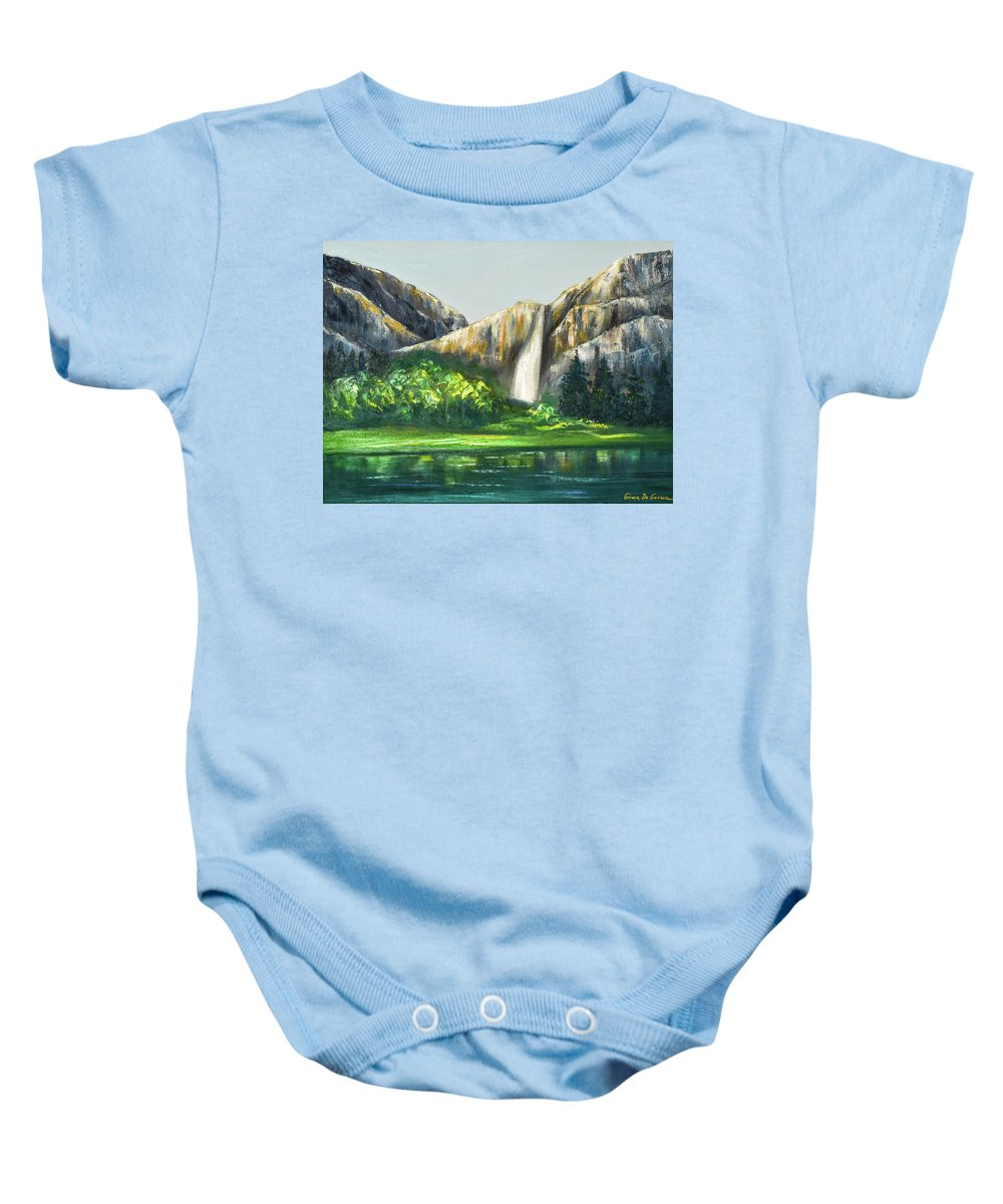 Mountains Baby Onesie featuring the painting Mountain Waterfall by Gina De Gorna