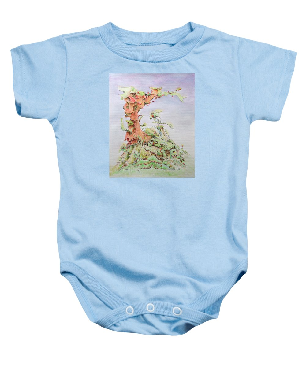 Abstract Baby Onesie featuring the painting Mountainside by Dave Martsolf
