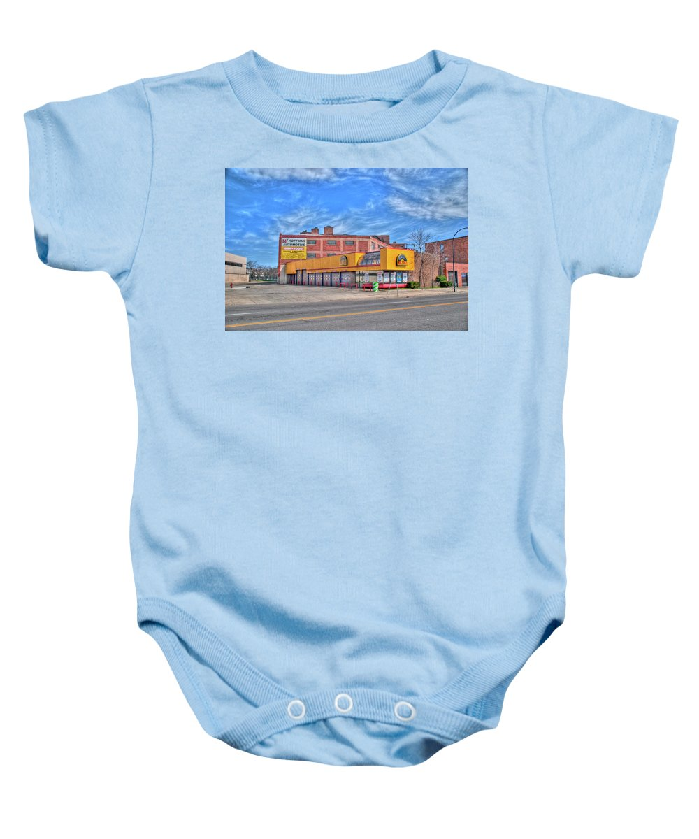 Buildings Baby Onesie featuring the photograph Mr Tire 15117 by Guy Whiteley