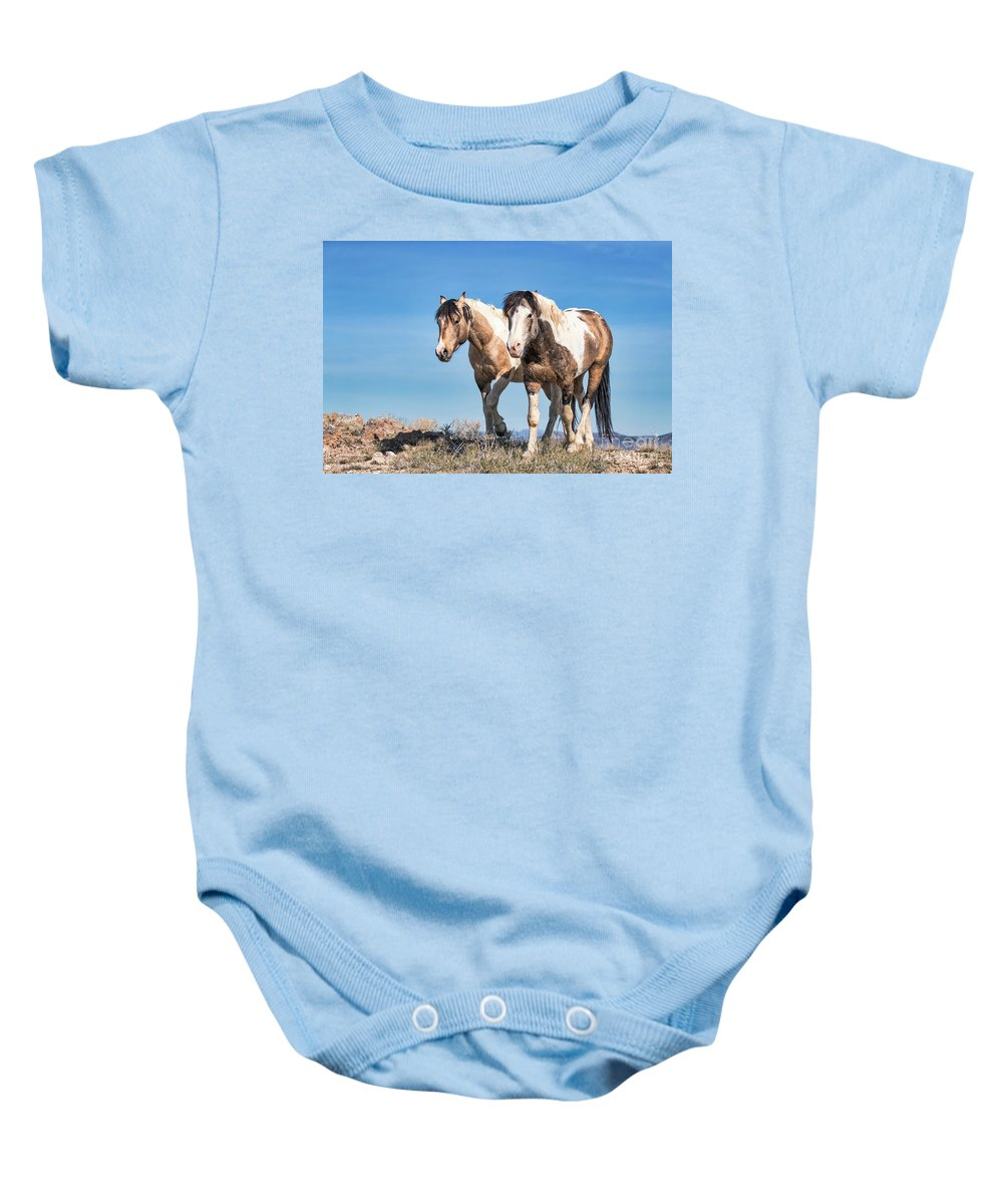 Horse Baby Onesie featuring the photograph Mustang Twin Stallions by Rob Daugherty
