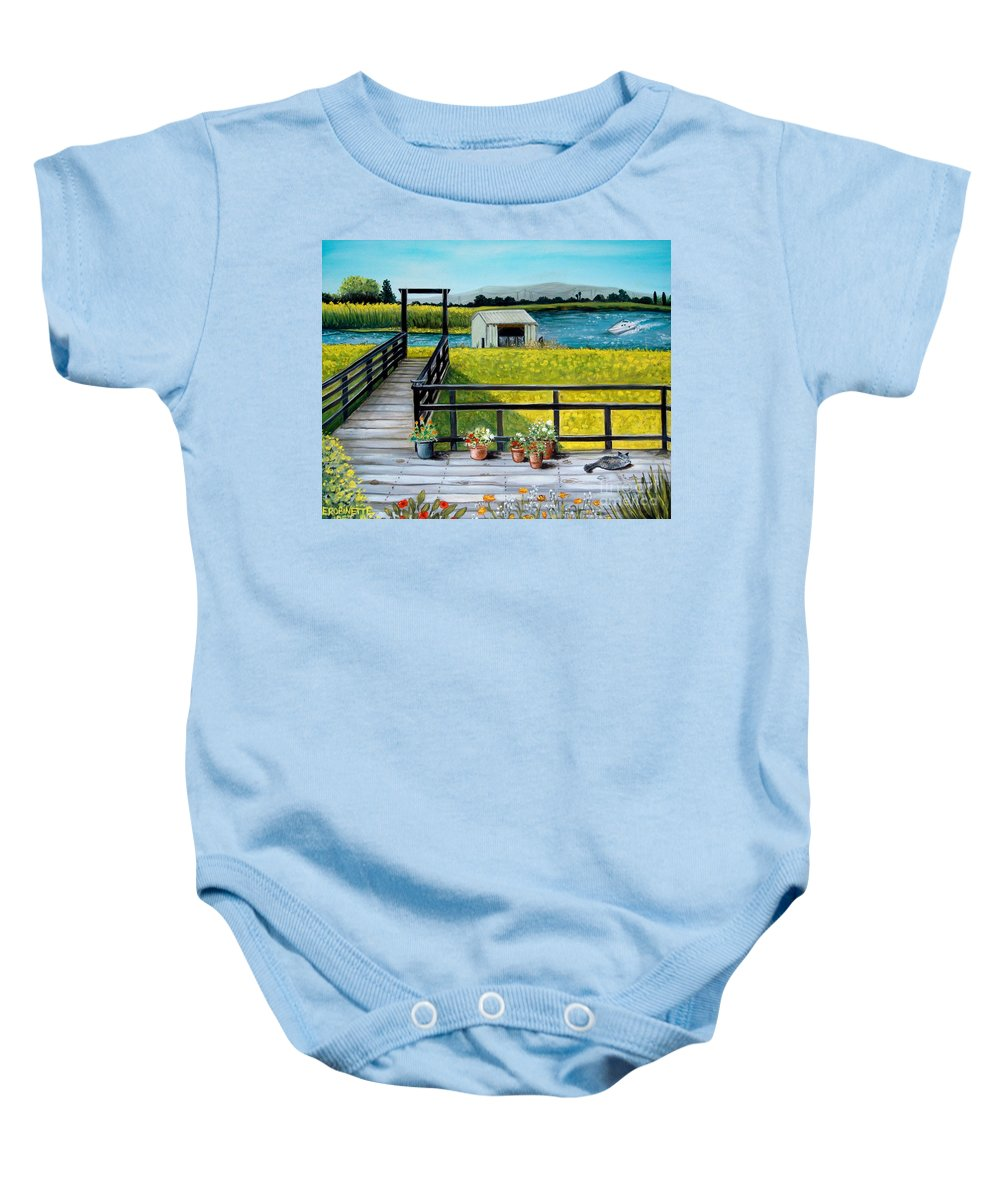 Landscape Baby Onesie featuring the painting My Canvas by Elizabeth Robinette Tyndall