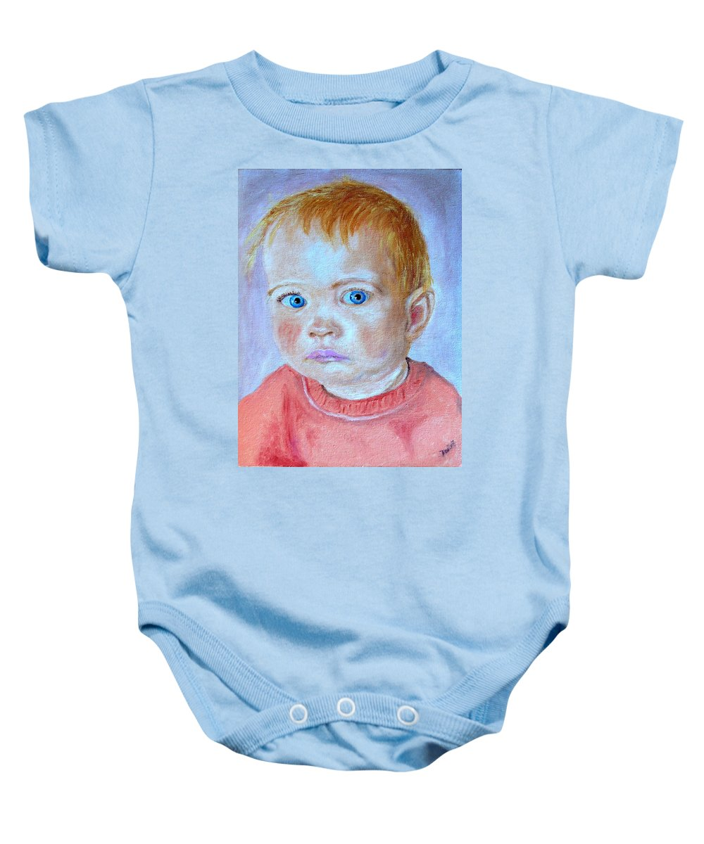 Leonie Baby Onesie featuring the painting My granddaughter Leonie by Helmut Rottler