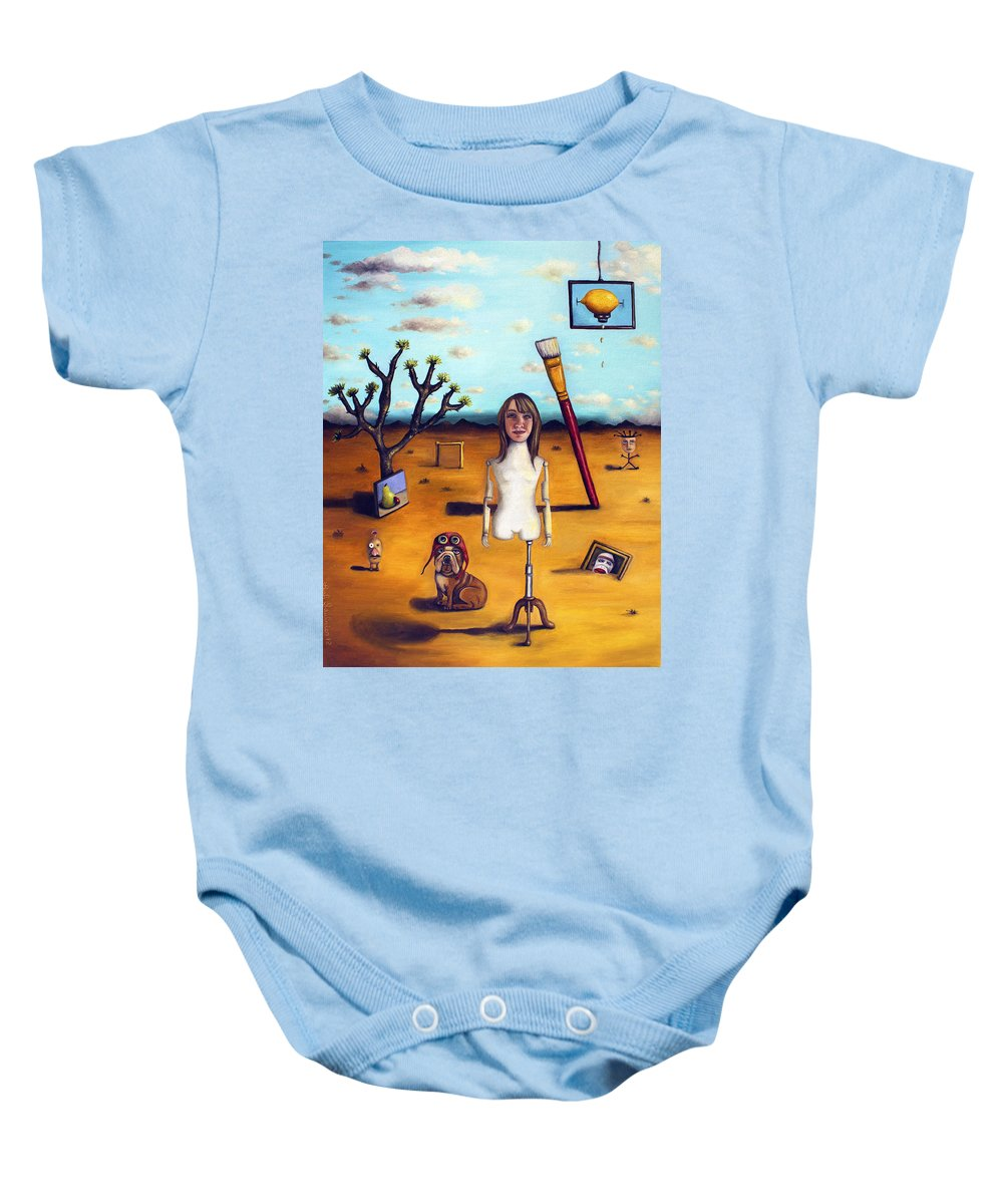 Me Baby Onesie featuring the painting My Surreal Life by Leah Saulnier The Painting Maniac
