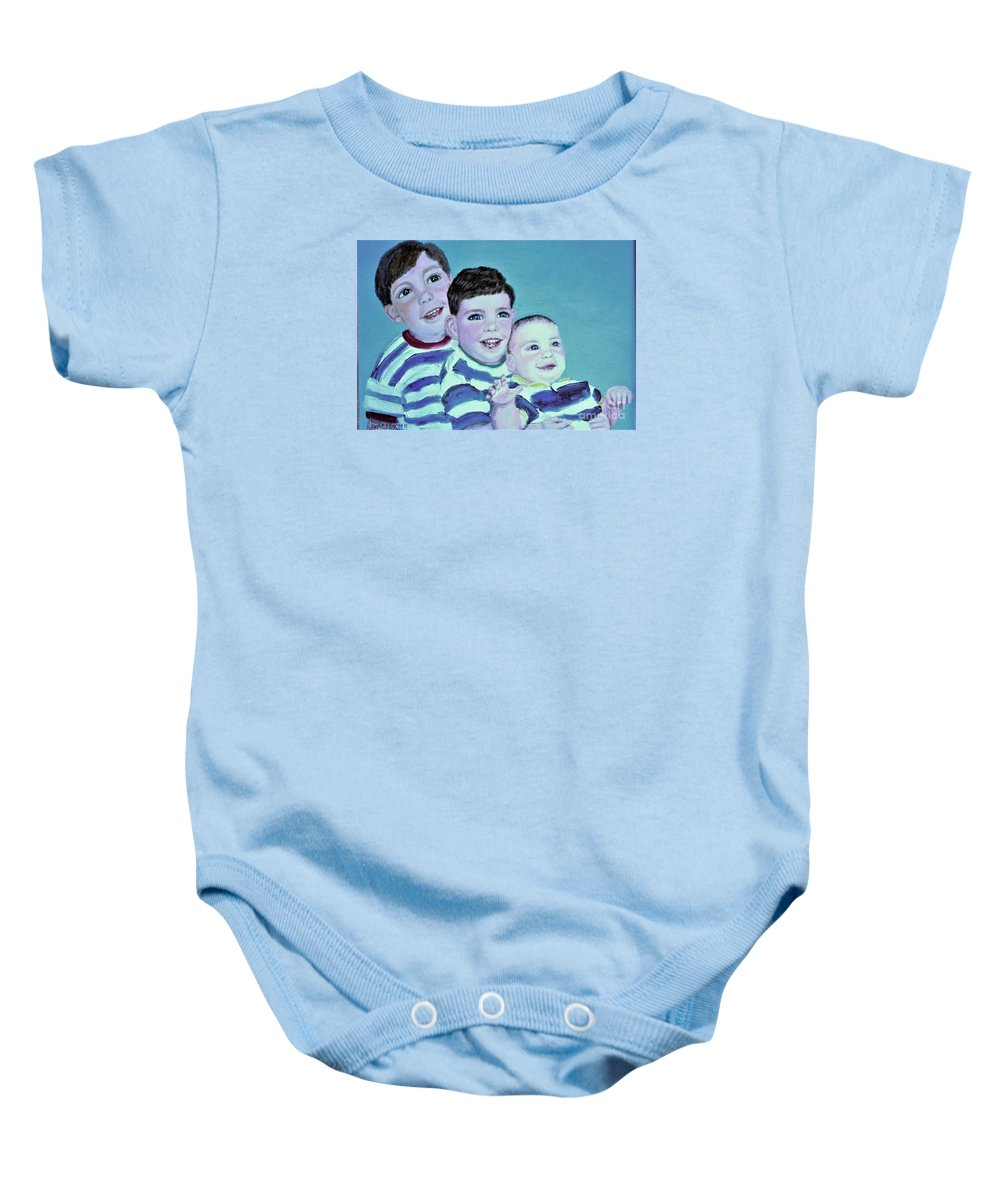 Children Baby Onesie featuring the painting My Three Sons by Laurie Morgan