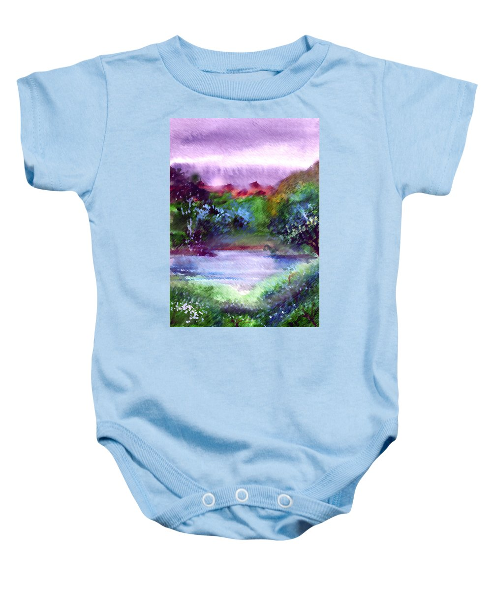Lake Baby Onesie featuring the painting Mystic Lake by Anil Nene