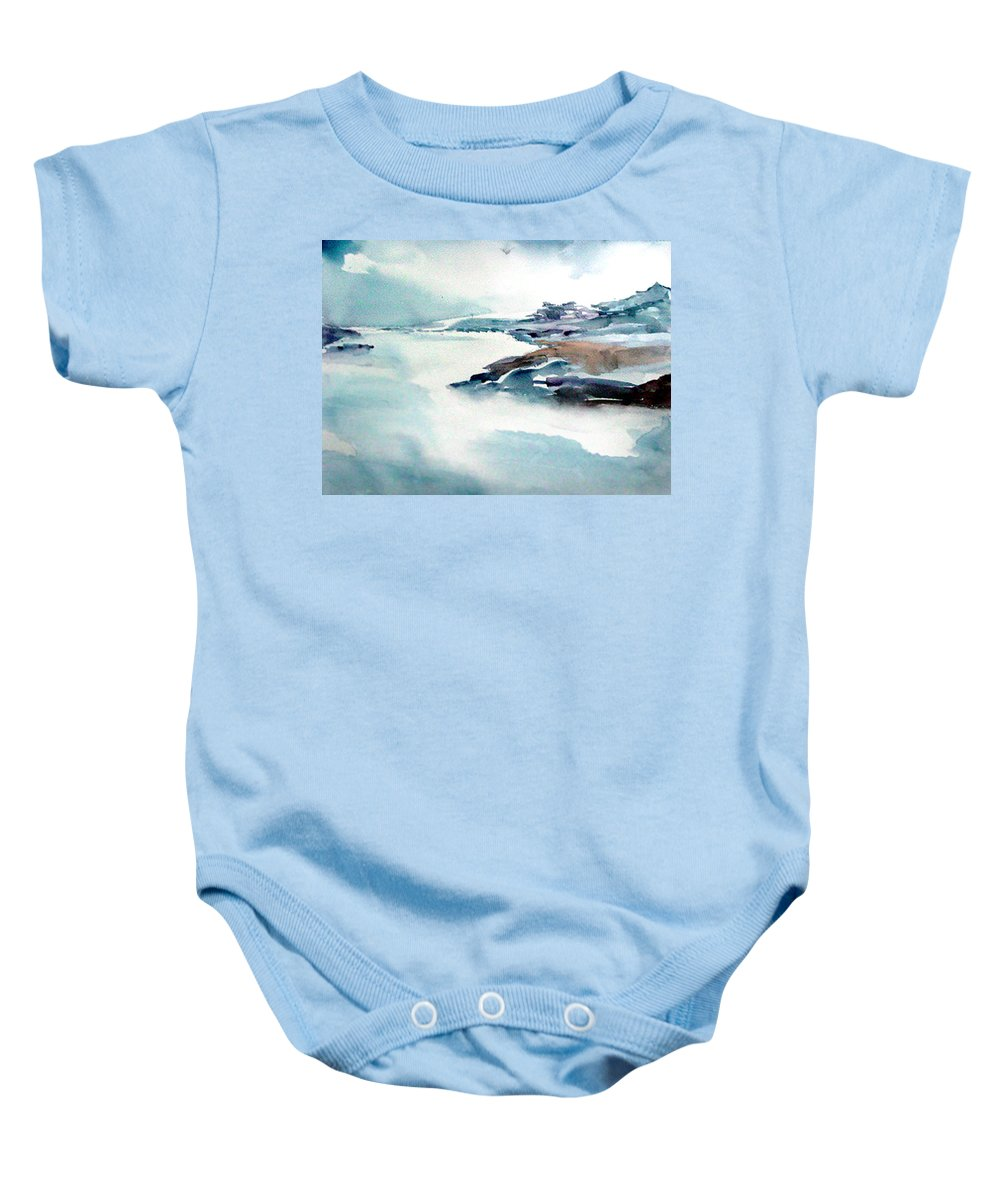River Baby Onesie featuring the painting Mystic River by Anil Nene
