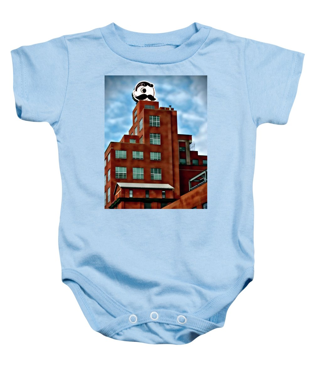 Natty Boh Tower Baby Onesie featuring the mixed media Natty Boh Tower by Ced Dembeckl