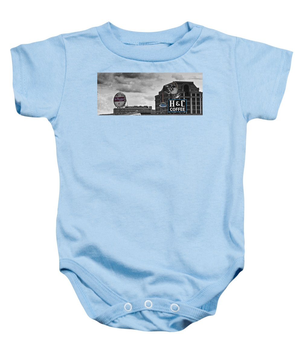 Roanoke Baby Onesie featuring the photograph Neon Architecture Roanoke Virginia by Teresa Mucha
