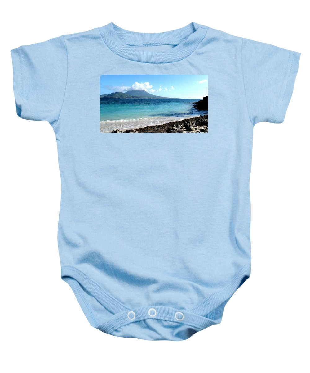 Nevis Baby Onesie featuring the photograph Nevis Across The Channel by Ian MacDonald