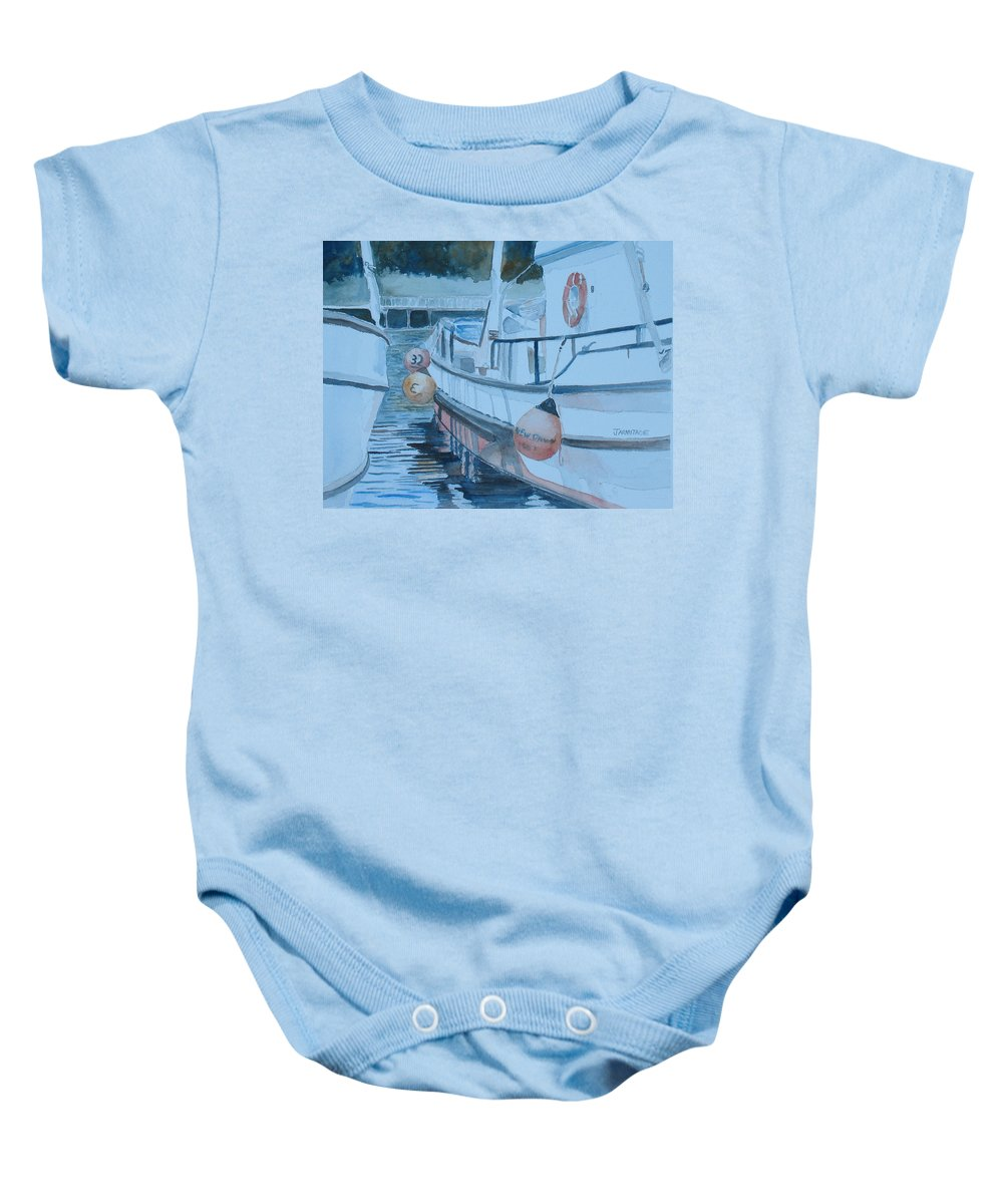 Marine Baby Onesie featuring the painting New Dawn In The Late Afternoon by Jenny Armitage