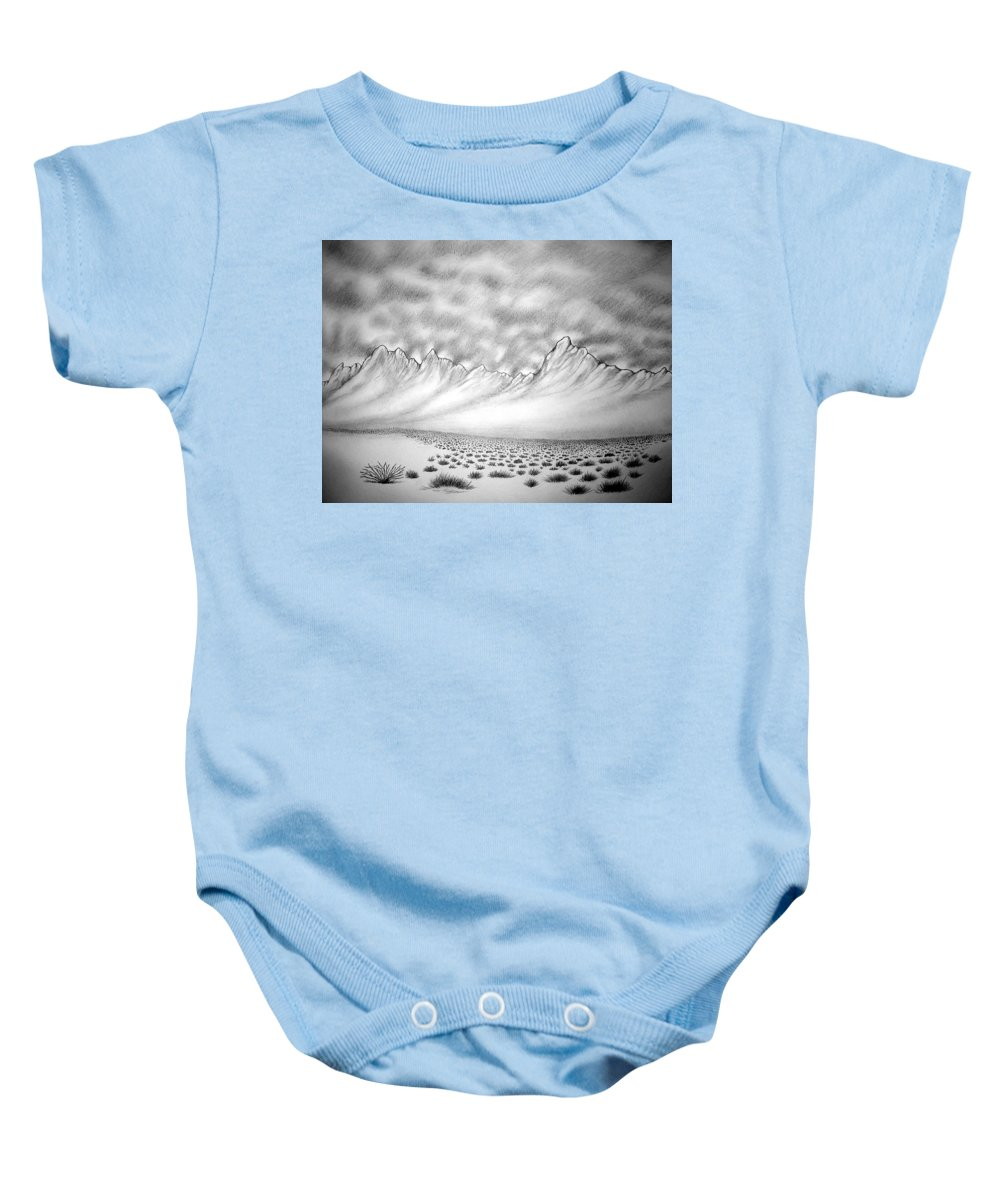 Baby Onesie featuring the drawing New Mexico Passage by Marco Morales