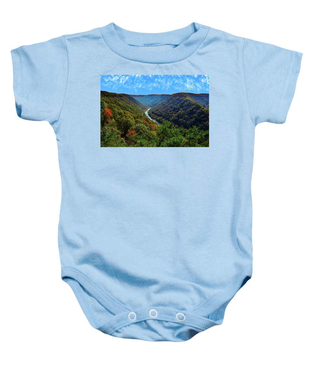 New River Gorge Baby Onesie featuring the photograph New River Gorge - Autumn by Dick McVey