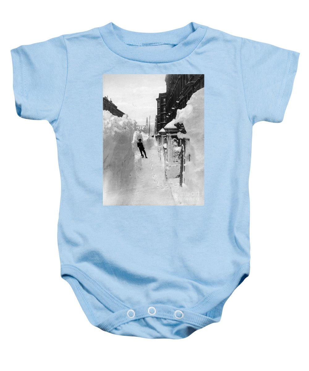 1888 Baby Onesie featuring the photograph New York: Blizzard Of 1888 by Granger