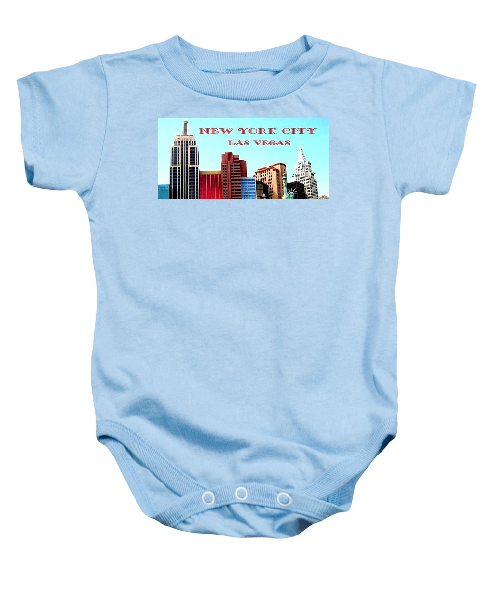 Poster Baby Onesie featuring the digital art New York City- Las Vegas by Will Borden