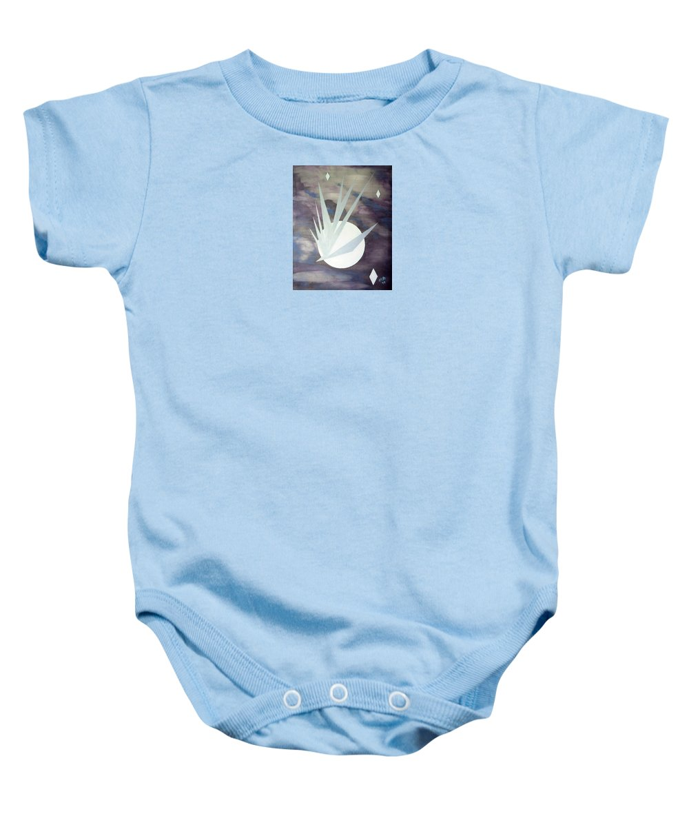 Moon With Hawke And Diamond Stars Baby Onesie featuring the painting Night Hawke 2 by J R Seymour