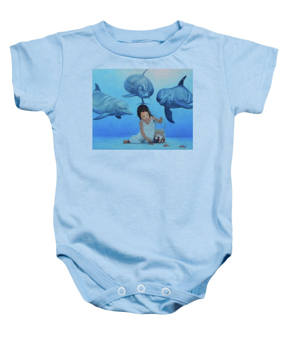 Seascape Baby Onesie featuring the painting Ninia Del Mar by Angel Ortiz