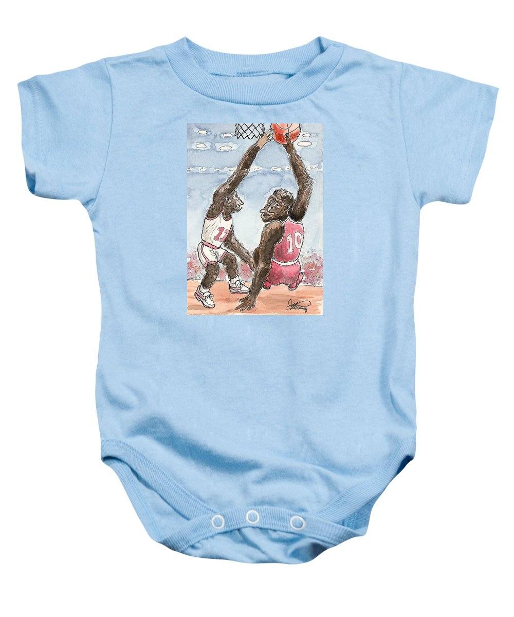 Basketbal Baby Onesie featuring the painting No No No by George I Perez