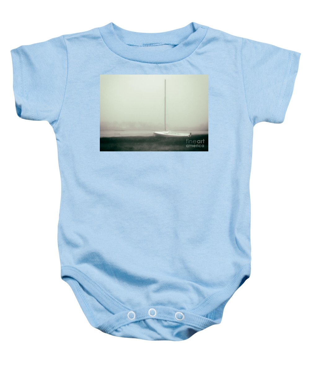 Abandon Baby Onesie featuring the photograph No Sailing Today Bw Green Tint by Jerry Fornarotto