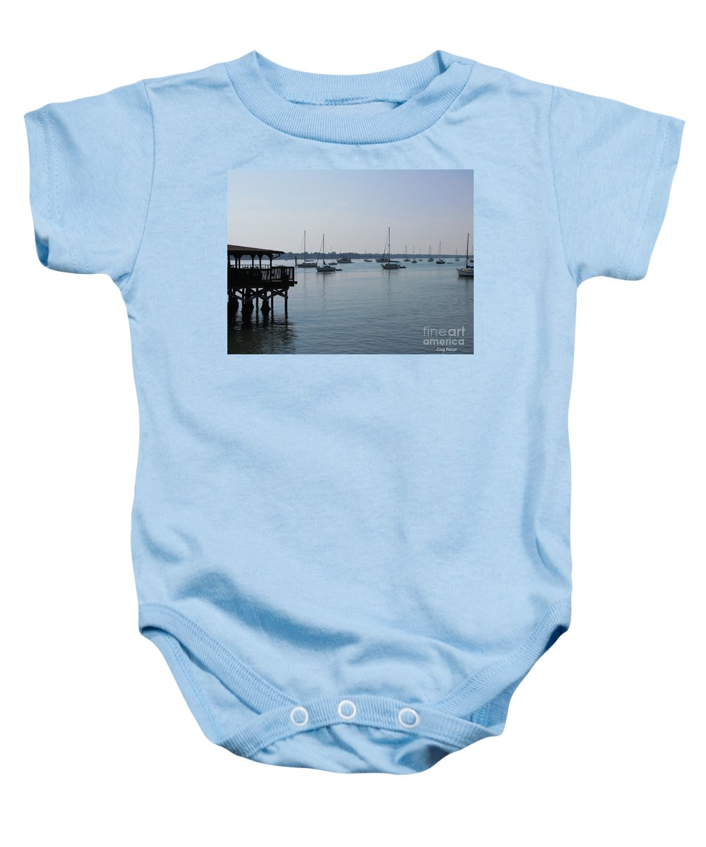 Art For The Wall...patzer Photography Baby Onesie featuring the photograph No Wind by Greg Patzer