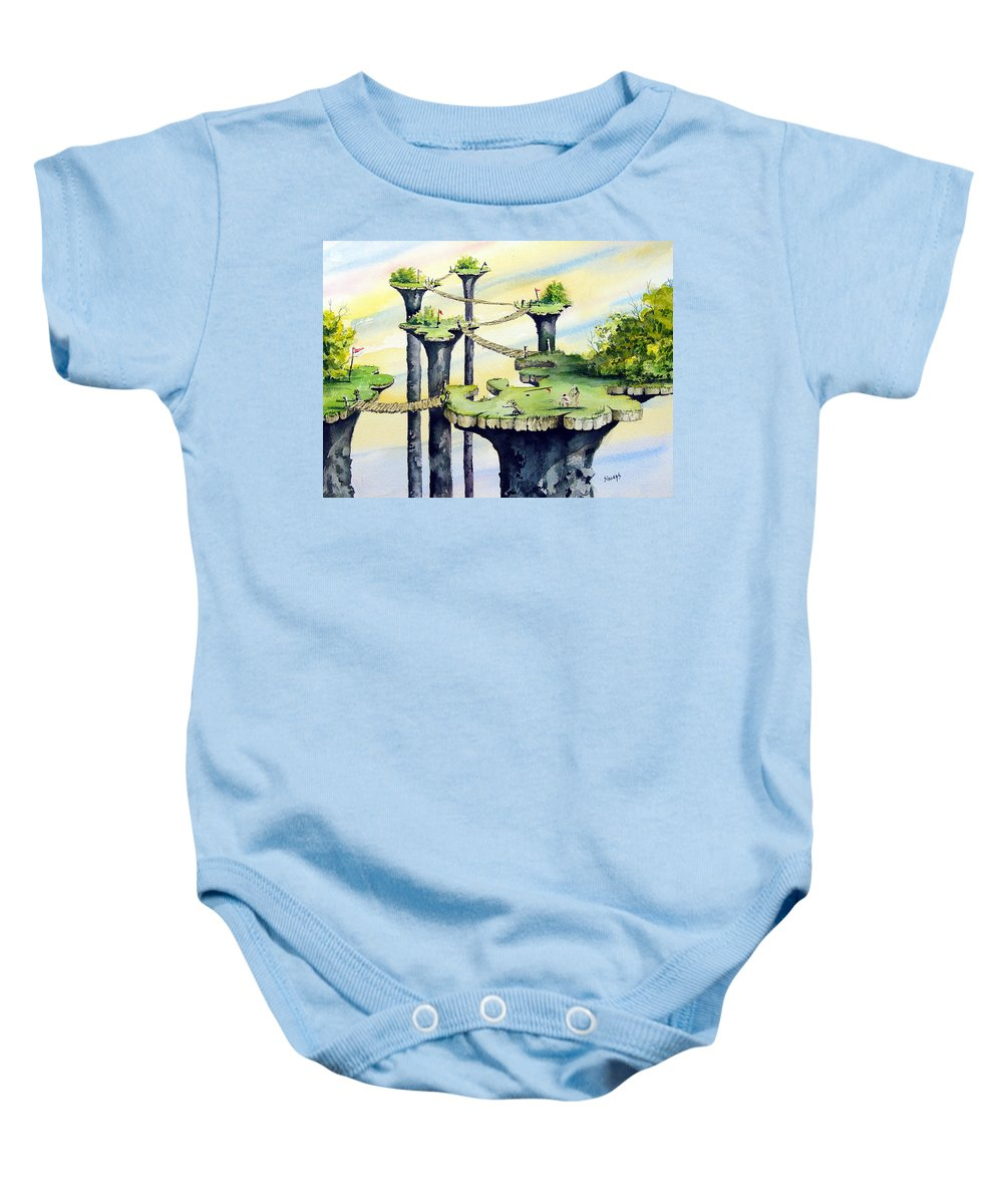 Golf Baby Onesie featuring the painting Nod Country Club by Sam Sidders