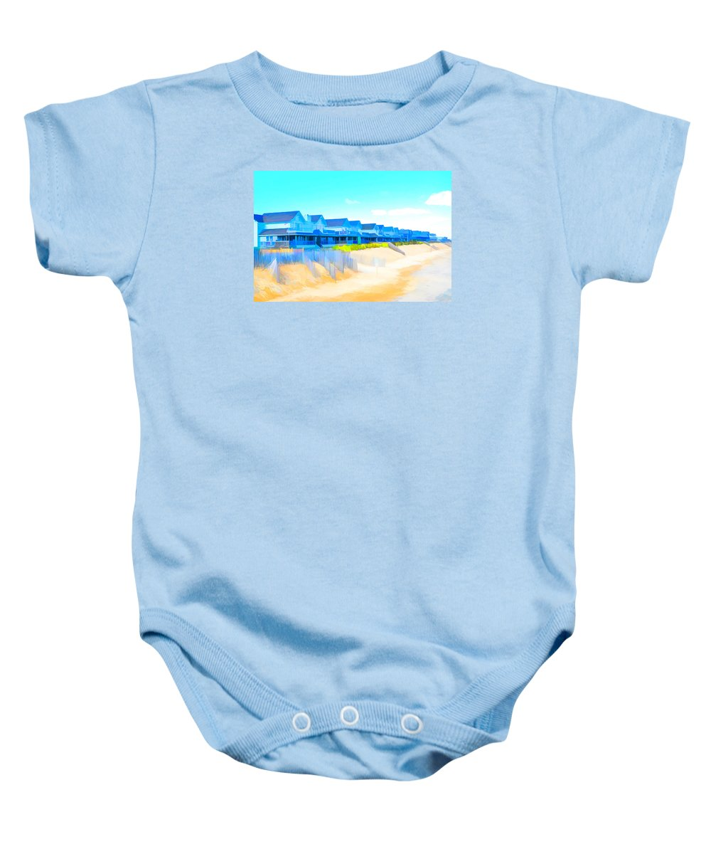North Sea Beach Baby Onesie featuring the painting North Sea Beach 4 by Jeelan Clark