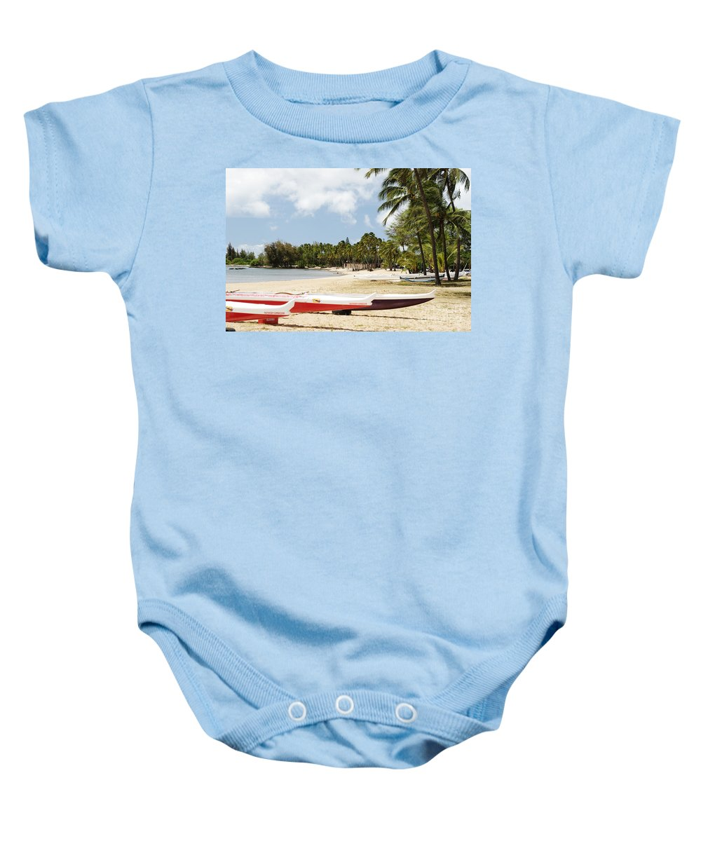 Ashore Baby Onesie featuring the photograph North Shore, Haleiwa by Vince Cavataio - Printscapes