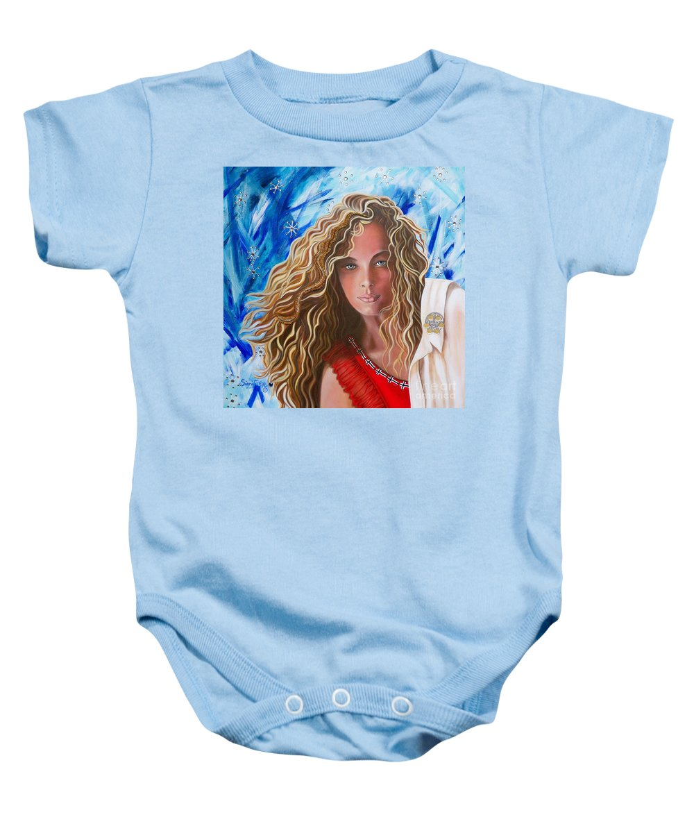 Norwegian Pretty Girl Baby Onesie featuring the painting Navigating Norwegian Girl       From The Attitude Girls by Sigrid Tune