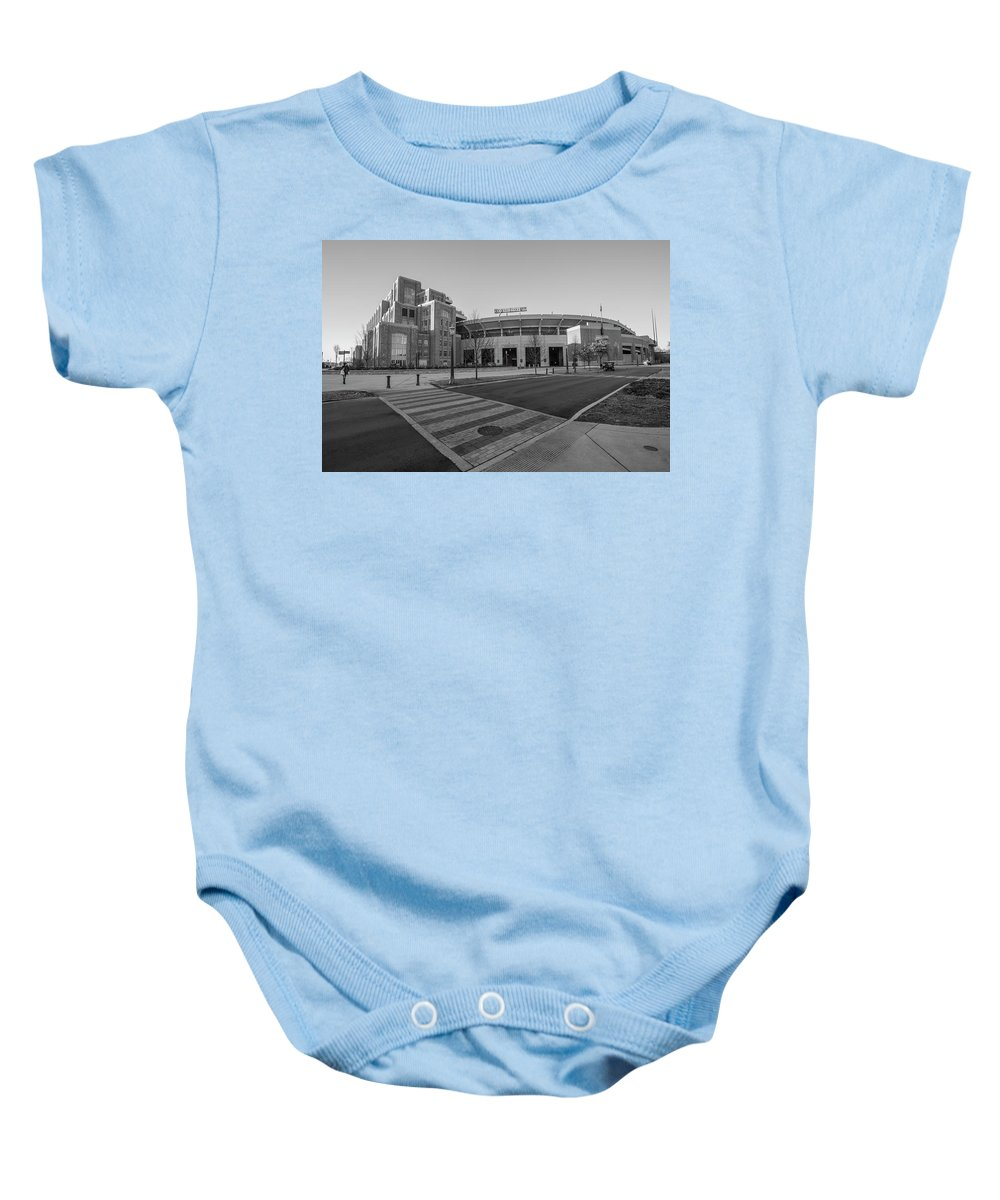 American University Baby Onesie featuring the photograph Notre Dame Football Staduim by John McGraw