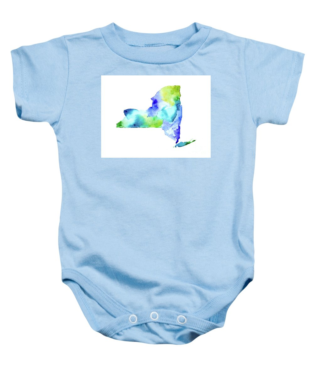 Nys Baby Onesie featuring the painting New York State In Blue And Green by Tori Rodriguez