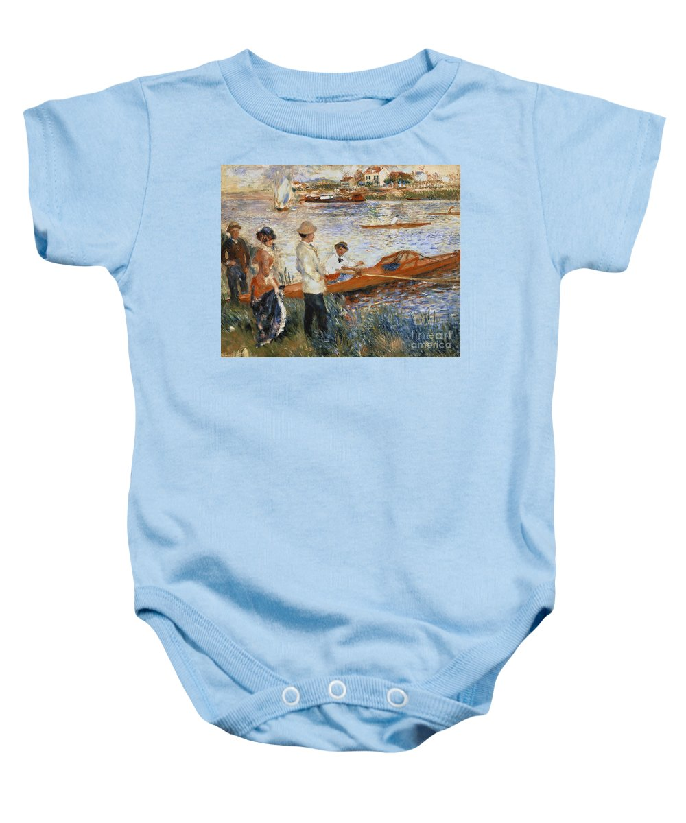 Oarsmen At Chatou Baby Onesie featuring the painting Oarsmen At Chatou by Pierre Auguste Renoir