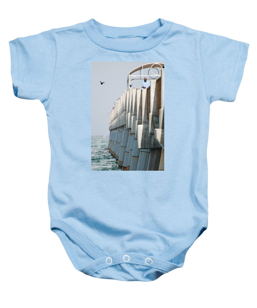 Fishing Baby Onesie featuring the photograph Ocean Pier by Rob Hans