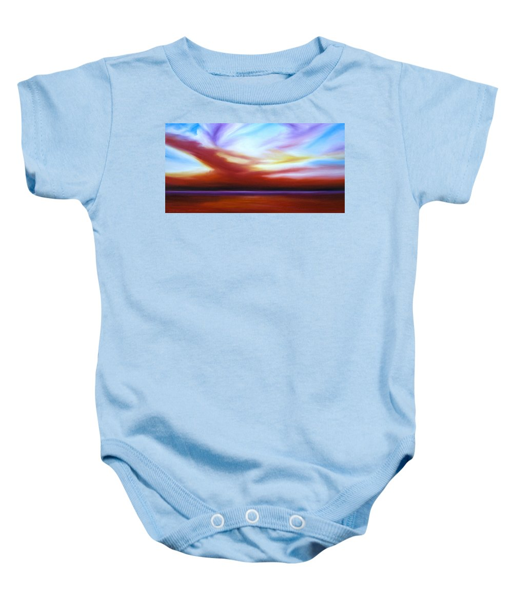 Skyscape Baby Onesie featuring the painting October Sky IIi by James Christopher Hill