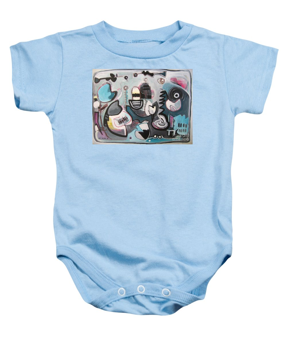 Fish Paintings Baby Onesie featuring the painting Off The Island by Seon-Jeong Kim