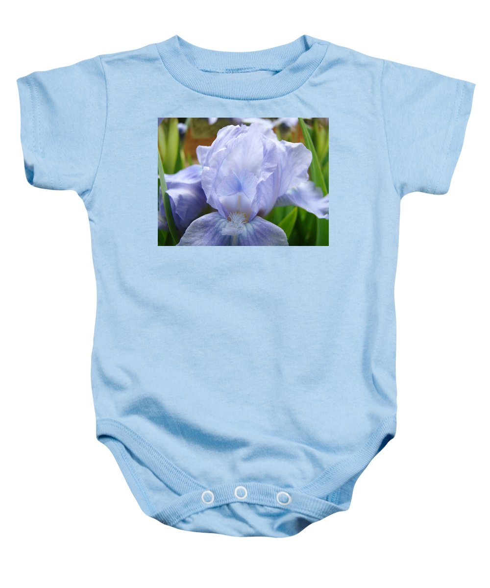 Iris Baby Onesie featuring the photograph Office Art Prints Blue Iris Flower Giclee Prints Baslee Troutman by Baslee Troutman