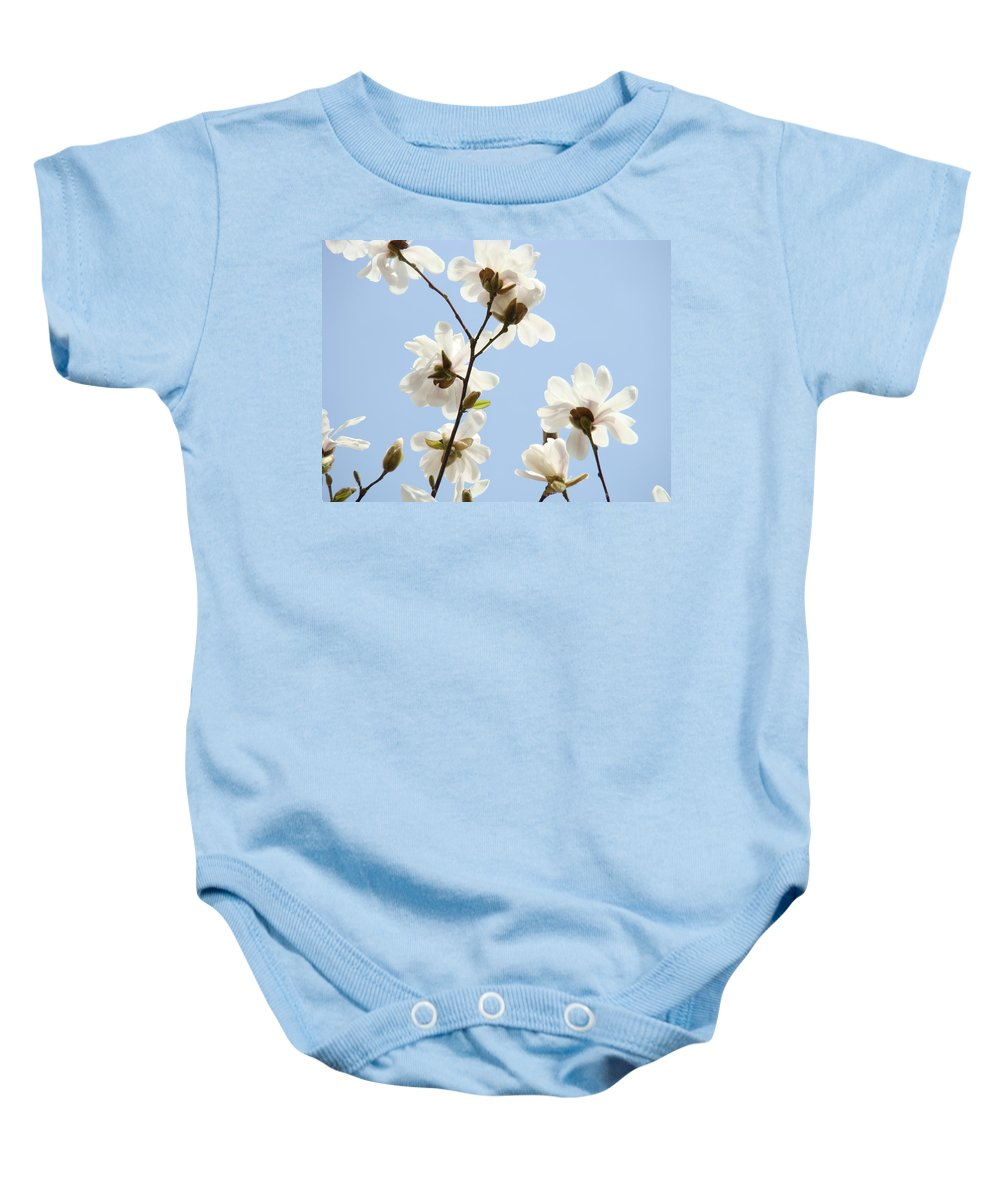 Blue Baby Onesie featuring the photograph Office Art Prints Blue Sky White Magnolia Flowers 38 Giclee Prints Baslee Troutman by Baslee Troutman