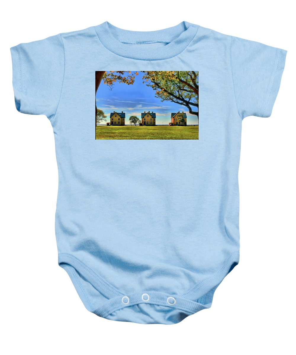 Barracks Baby Onesie featuring the photograph Officer's Row by DJ Florek