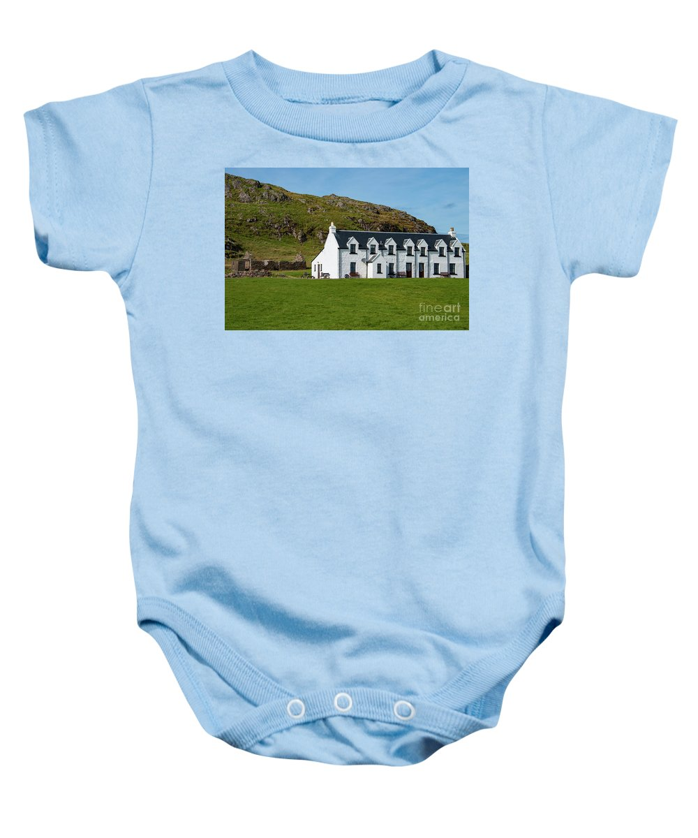 Isle Of Iona Baby Onesie featuring the photograph Old And New Iona Architecture by Bob Phillips