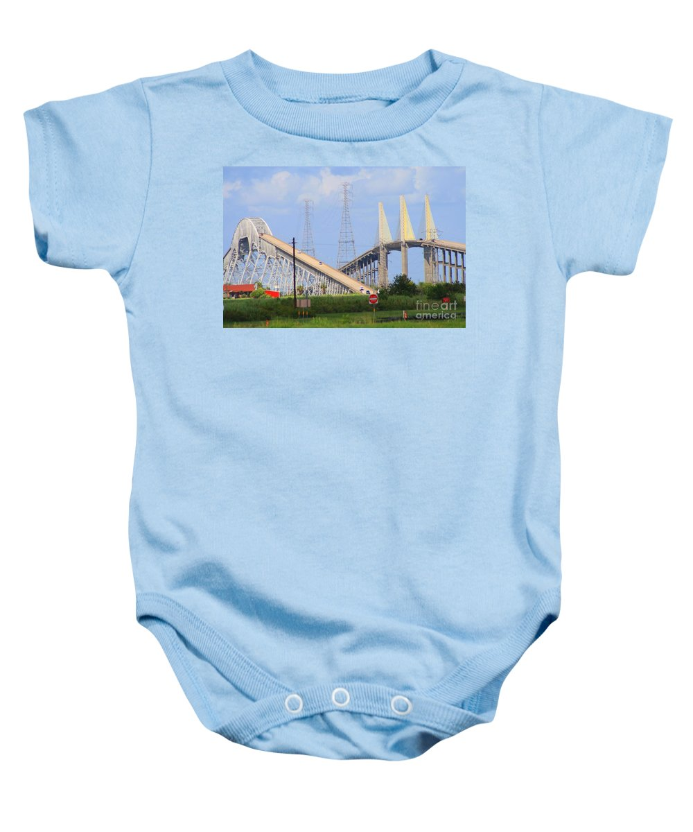 Rainbow Bridge Baby Onesie featuring the photograph Old And New by John W Smith III