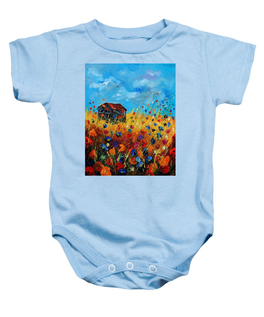 Poppies Baby Onesie featuring the painting Old Barn by Pol Ledent